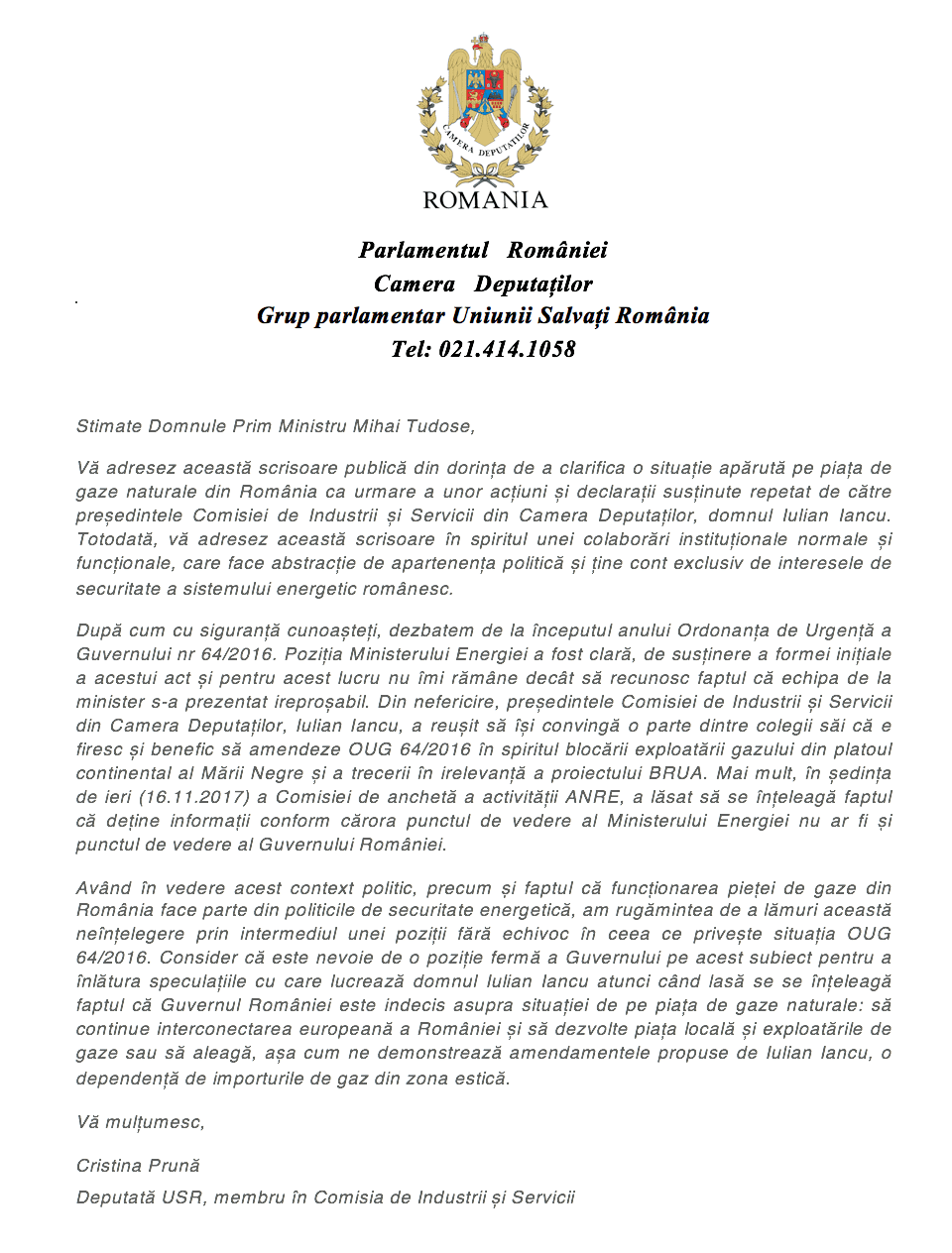 Scrisoare deschisă: Guvernul României își dorește interconectare europeană sau dependență de gazele rusești?