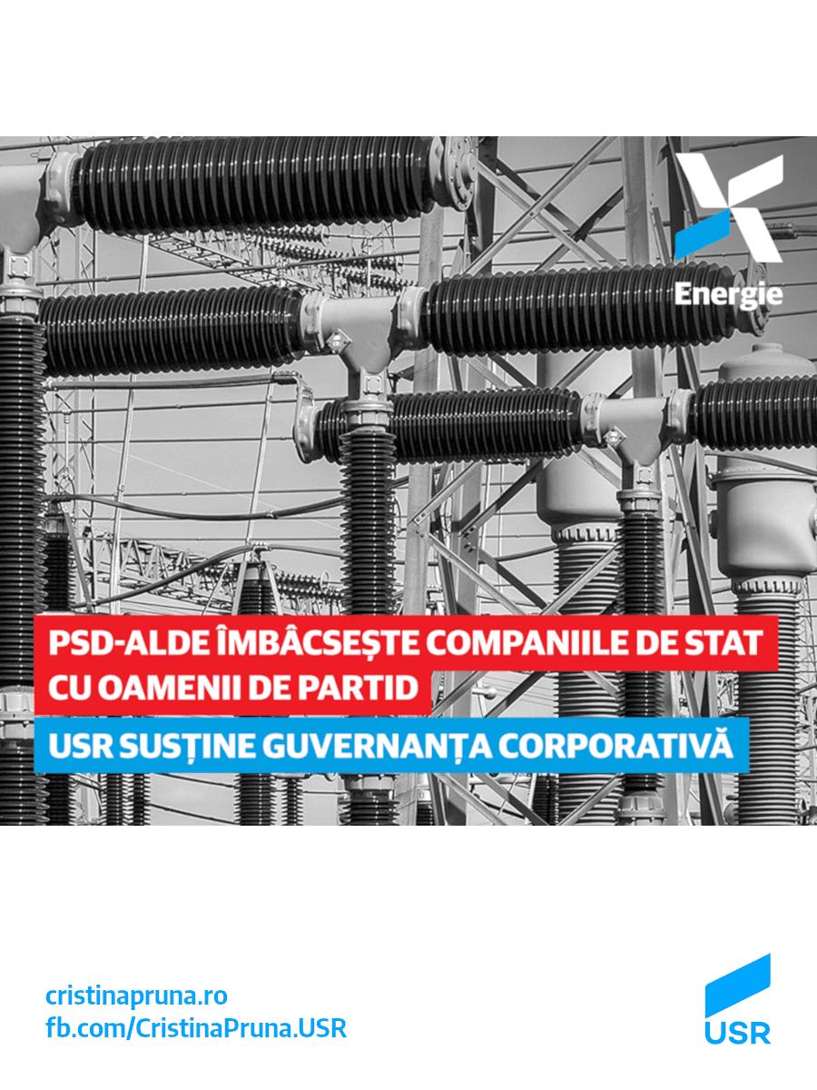 PSD-ALDE îmbâcsește companiile de stat cu oamenii de partid. USR susține guvernanța corporativă