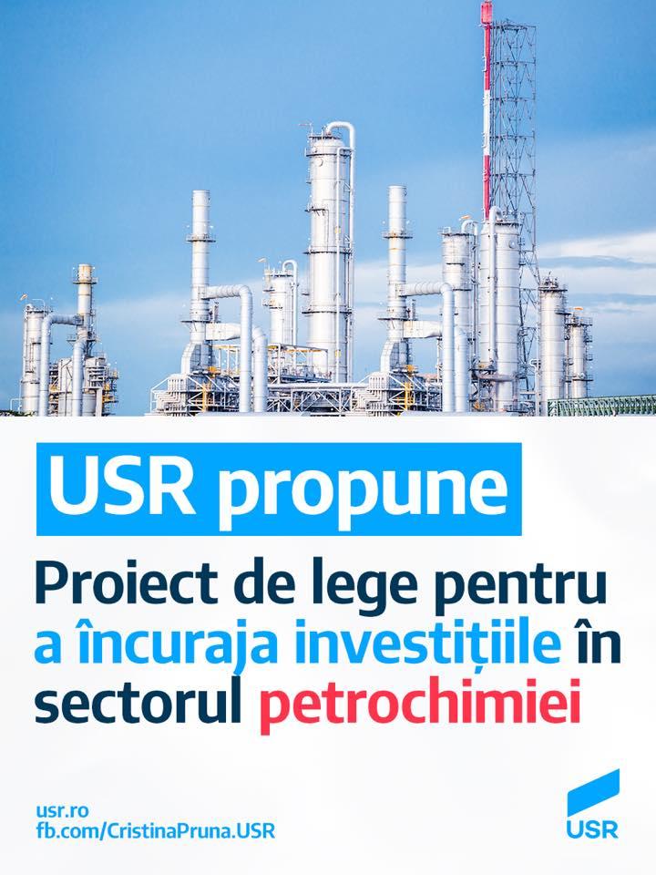 USR lansează un proiect legislativ pentru a încuraja investițiile în sectorul petrochimiei