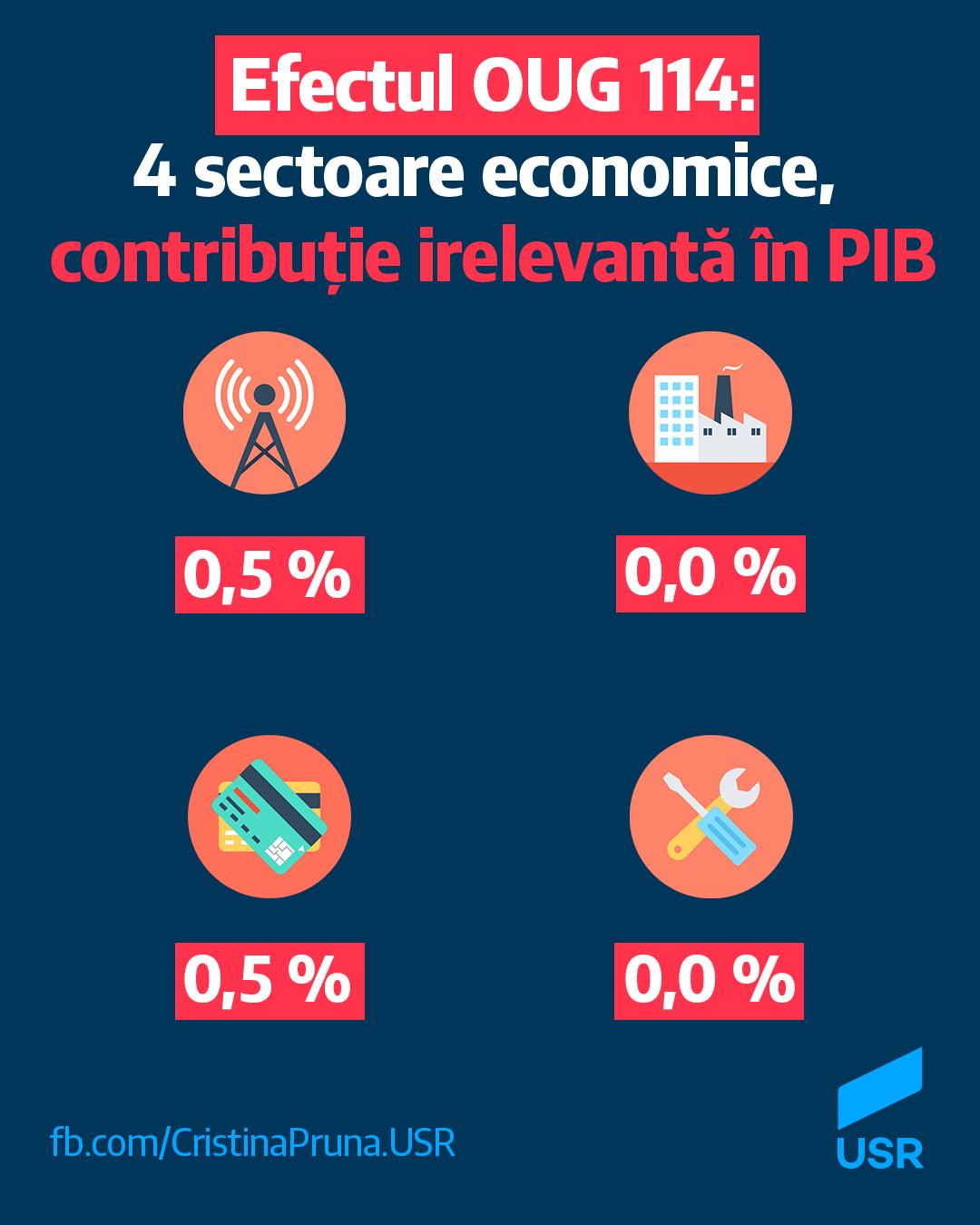 Efectul OUG 114: 4 sectoare economice, contribuție irelevantă în PIB
